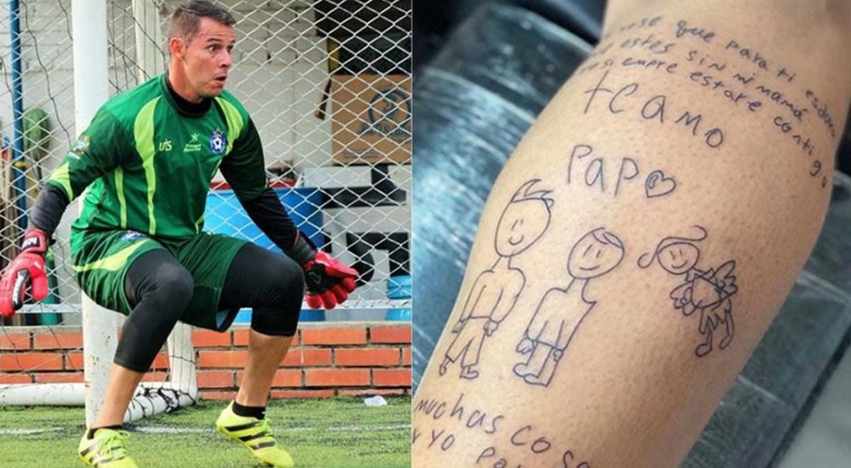 Luis Delgado Portero Del Atletico Bucaramanga Cuenta La Historia Del Conmovedor Tatuaje Del Dibujo De Su Hijo Video Libero Pe
