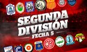 Segunda División: resultados y tabla de posiciones tras jugarse la fecha 5