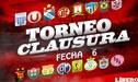 Torneo Clausura: programación, resultados EN VIVO y tabla de posiciones de la fecha 6