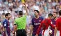 Lionel Messi discutió con el árbitro y recibió la amarilla tras el empate ante Athletic de Bilbao