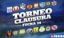 Torneo Clausura 2018: programación de la fecha 14 del Descentralizado