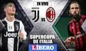 Juventus vs Milan EN VIVO con Ronaldo e Higuaín por la final de la Supercopa de Italia