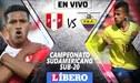 EN DIRECTO │Perú vs Ecuador EN VIVO partido por Sudamericano Sub-20 CHILE 2019