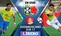 Gana Brasil 3-1 a Colombia EN VIVO: por el  Sudamericano Sub-17
