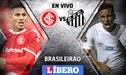 Internacional vs Santos [EN VIVO] Duelo de peruanos Paolo Guerrero y Christian Cueva en Brasileirao