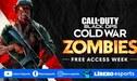 Call of Duty: Black Ops Cold War: modo Zombies gratis toda una semana desde hoy
