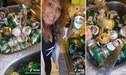 Señora abre y bota por la tubería decenas de latas de cerveza que su hijo planeaba tomarse - VIDEO