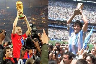 Andrés Iniesta y una réplica de Maradona en México 86