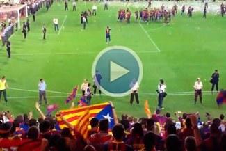[VIDEO] Mira cómo celebró Piqué el título de la Copa del Rey con los hinchas