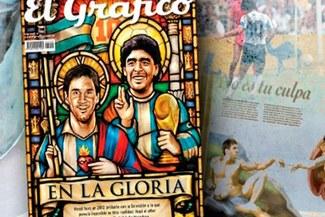 Messi y Maradona, idolatrados en la portada del 'El Gráfico'