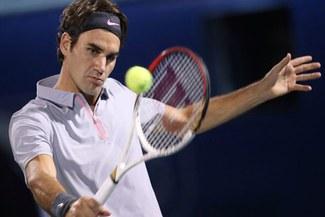 Roger Federer festejó en la primera ronda del torneo de Dubai