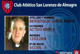 San Lorenzo está orgulloso de que el papa Jorge Bergoglio sea socio del club