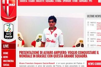 Álvaro Ampuero fue presentado en Padova: Quiero jugar la Copa del Mundo de Brasil con Perú [VIDEO]