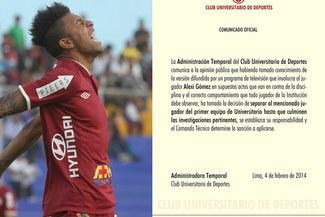 Universitario de Deportes: Alexi Gómez fue separado temporalmente