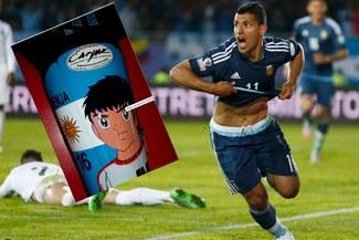 Sergio Agüero jugó ante Uruguay con las canilleras de Oliver Átom por pedido de su hijo  [VIDEO]