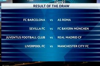 Champions League: sorteo deja Barcelona - Roma y Real Madrid - Juventus en cuartos