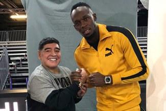 Usain Bolt y Diego Armando Maradona tuvieron un divertido encuentro [VIDEO]