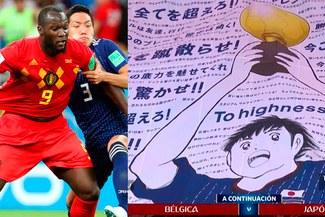 """Bélgica vs Japón: hinchada nipona lució bandera con Oliver Atom y """"Los Supercampeones"""" en Mundial Rusia 2018"""