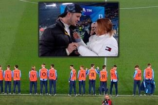 Hincha hizo propuesta de matrimonio con ayuda de los recogepelotas previo al Inter vs Lazio [VIDEO]