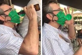 Facebook: Usuarios crean curiosas mascarillas para tomar cerveza [VIDEO]