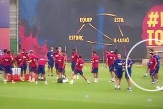 Barcelona: Lionel Messi aparece alejado del grupo en los entrenamientos