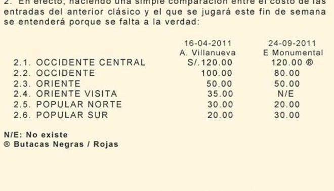 Universitario responde al gerente de Alianza Lima por el costo de las entradas