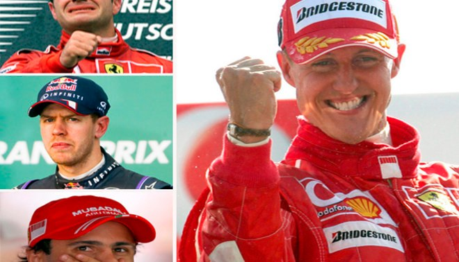 Sebastian Vettel, Rubens Barrichelo y Felipe Massa rezan por Michael Schumacher