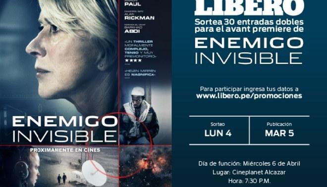 """Líbero te lleva a la Avant Premiere de """"Enemigo Invisible"""" participa ya !"""