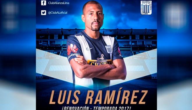 Alianza Lima hizo oficial renovación del contrato de Luis Ramírez por todo el 2017