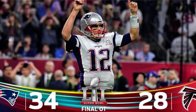 Super Bowl 2017: Patriots son campeones de la NFL tras una remontada histórica de 34 a 28 sobre Falcons