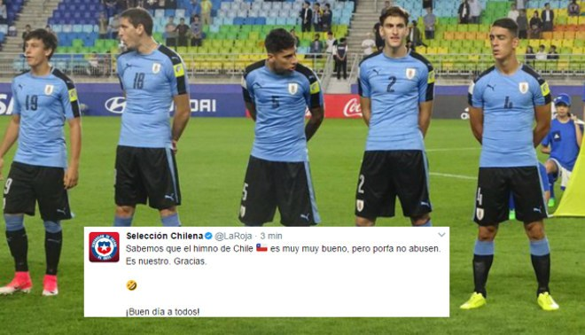 Chile se burla de Uruguay en Twitter por incidente del himno y luego borra su mensaje