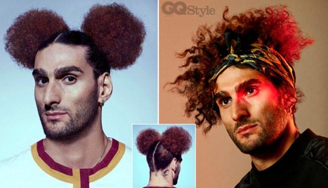 Marouane Fellaini posó para la revista estadounidense GQ con peinados inusuales