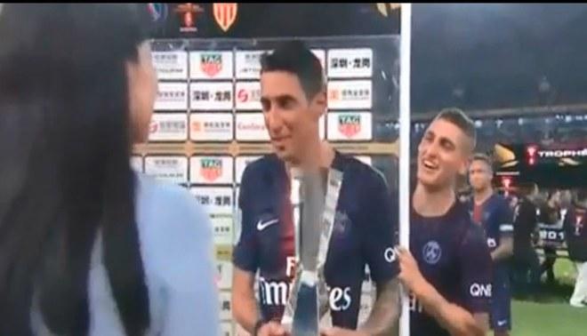 Marco Verratti bromea con Ángel Di María en plena entrevista [VIDEO]