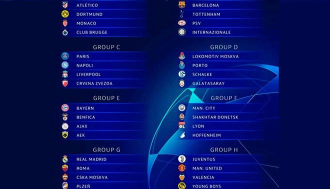 Calendario Uefa Europa League.Champions League Grupos Y Calendario Completo De La Liga De