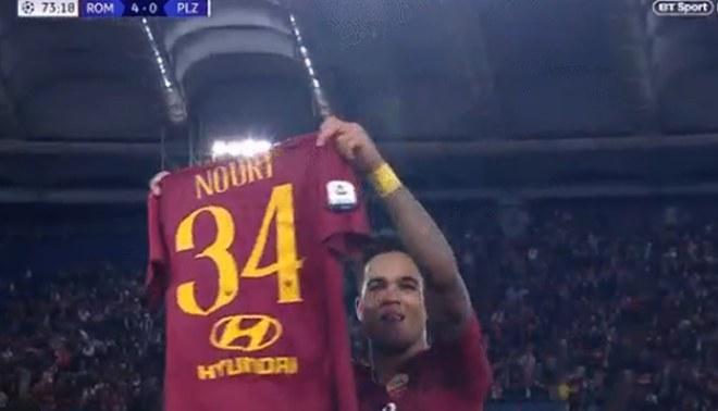 La emotiva dedicatoria de Justin Kluivert tras anotar su primer gol con AS Roma en Champions League [VIDEO]