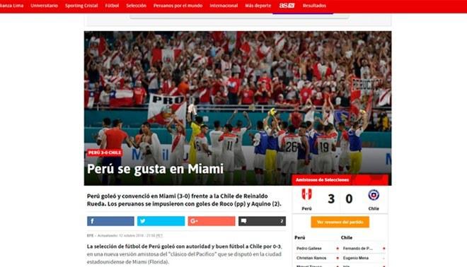 Así informó la prensa extranjera el triunfo de Perú ante Chile en Estados Unidos [GALERIA]