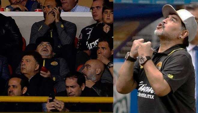 Maradona totalmente loco buscó pelear con la hinchada del Atlético San Luis [VIDEO]