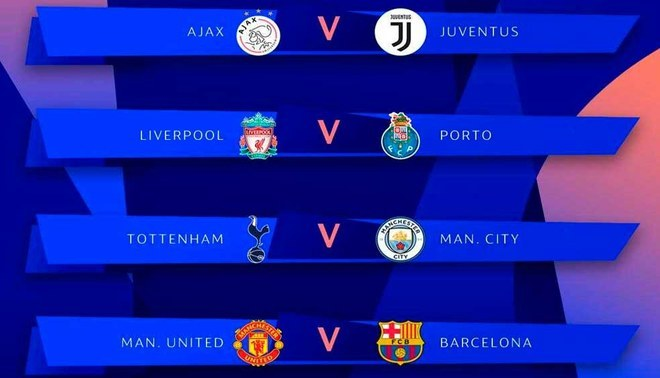 Ajax vs Juventus, Liverpool vs Porto, Tottenham vs City y Barcelona vs United