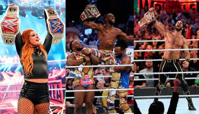 Becky Lynch, Kofi Kingstone y Seth Rollins triunfaron en Wrestlemania 35. Foto: Agencia