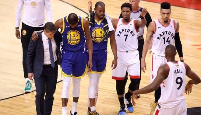 Golden State Warriors vs Toronto Raptors: Kevin Durant volvió a lesionarse. | Foto: @SC_ESPN