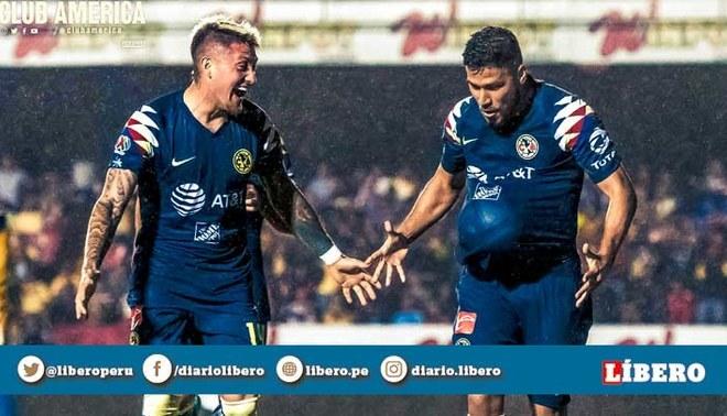 Bruno Váldez celebra su gol con Nicolás Castillo en el América vs Veracruz.
