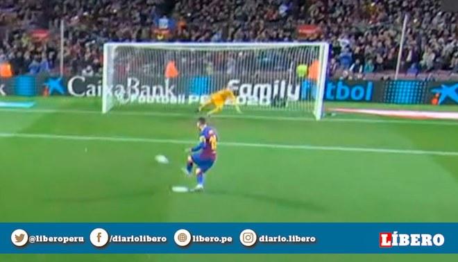 Lionel Messi anotó gol 500 con pierna izquierda en el Barcelona vs Celta.   Foto: Captura