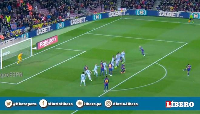 Lionel Messi anotó hat trick con Barcelona con un impresionante nuevo tiro libre.   Foto: Captura