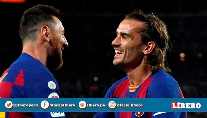Lionel Messi y Antoine Griezman se dan un afectuosos abrazo tras la victoria del Barcelona ante el Celta de Vigo   EFE