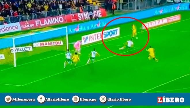Cristian Benavente y su genial asistencia para el 1-0 del Nantes sobre el Saint Etienne de Miguel Trauco. Créditos: captura de pantalla.