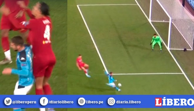 Liverpool vs Napoli: Mertens ganó duelo aéreo a Van Dijk y luego anotó el 1-0 en Champions League. | Foto: Captura
