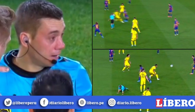Barcelona vs Dortmund: Árbitro Clément Turpin recibió pelotazo de Luis Suárez en el rostro. | Foto: Captura