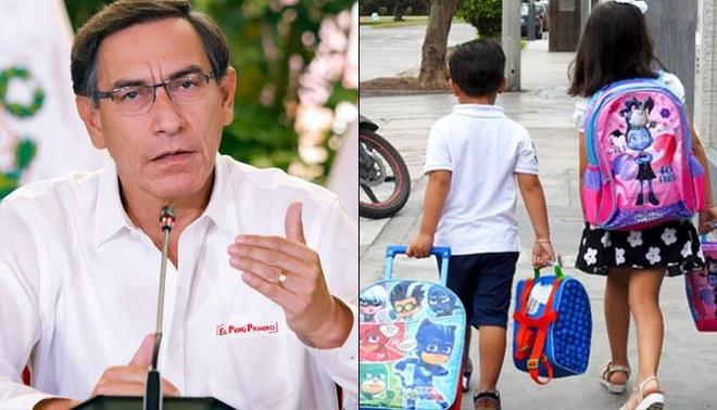 Presidente Martín Vizcarra descarta las clases presenciales hasta que haya vacuna.   Foto: Composición
