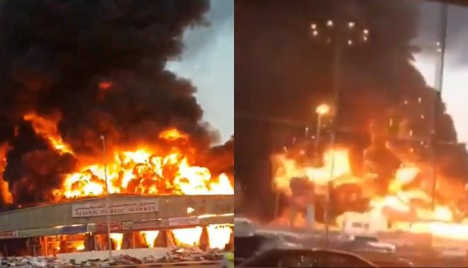 Gigantesco incendio consume el mercado de Ajman en Emiratos Árabes