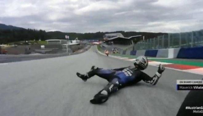 MotoGP: Maverick Viñales tuvo que saltar de su moto a más de 220 km/h. Créditos: captura de pantalla.